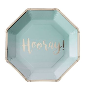 Mint & Gold Ombre 'Hooray' Party Plates - pack of 8